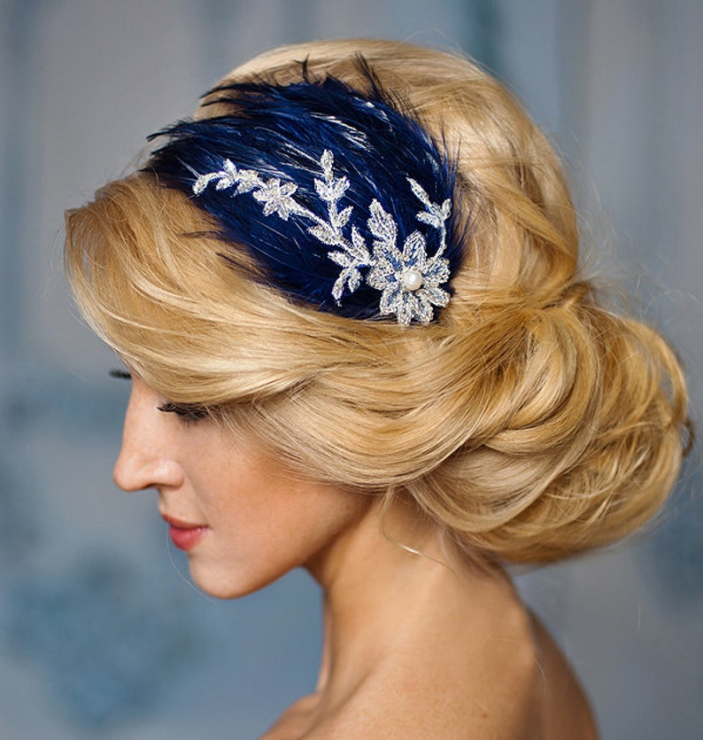 653bffee89a99 Blue Wedding fascinator navy blue fascinator with silver lace