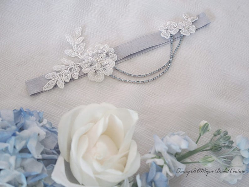 chain garter for modern bride Something Blue beaded lace garter Luxury Silver floral garter