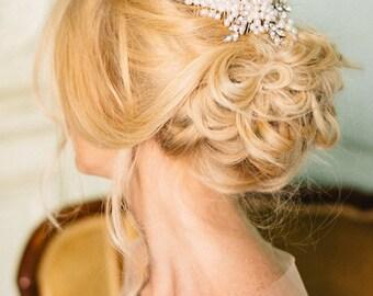 Crystal Wedding headpiece, Pearl Wedding Comb, Bridal Headpiece- Ester