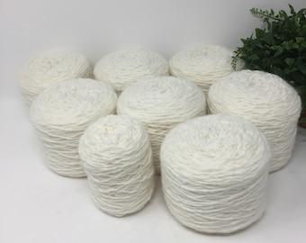 Yarn Recycled Wool Alpaca Blend 933 Yards 7.5 Cakes 14.0 oz White Lot 744