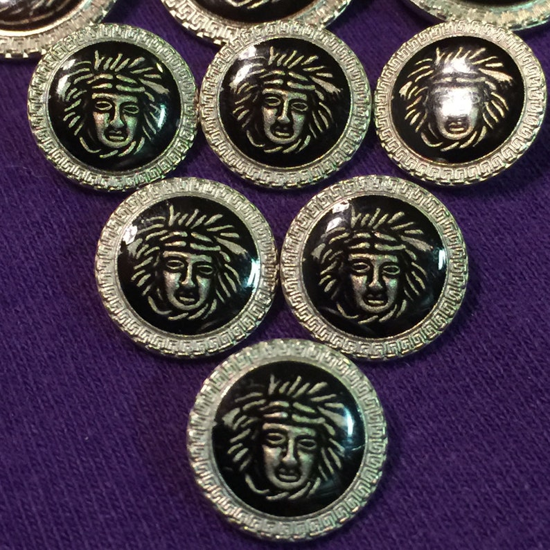 Tribal Warrior Head Metal Resin Silver Black Recycled Buttons Lot of 9