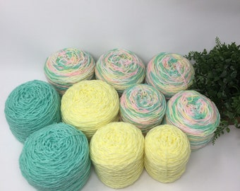 Yarn Recycled 100% Acrylic 1322 Yards 10 Cakes 29.1 oz Multi Color Lot 746