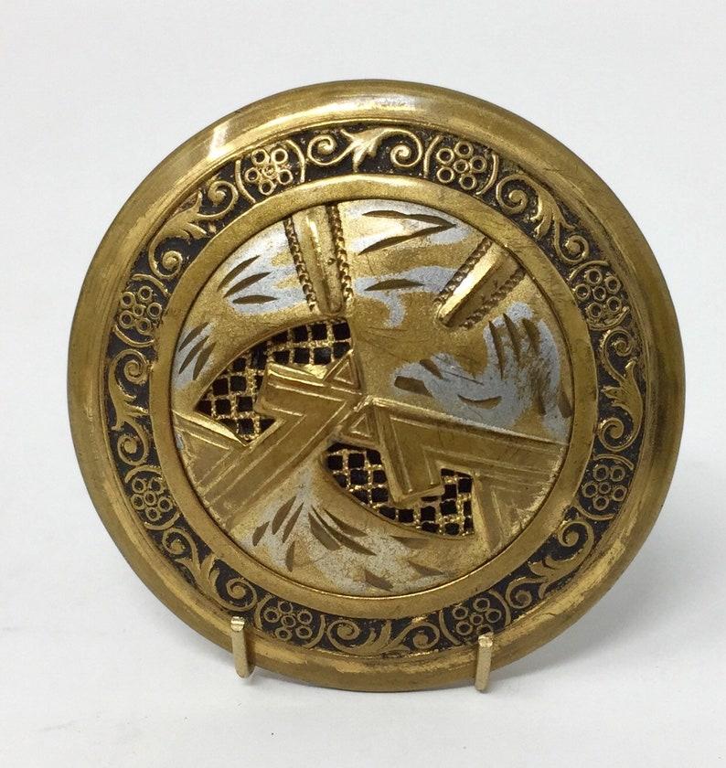 Vintage Victorian Era Large Metal Picture Button 1 916\u201d Diameter