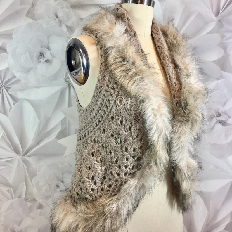 Vintage INC International Concepts Womens Beige Fur Trim Crotchet Open Front Vest Size Small