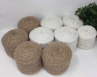Yarn Recycled 100% Acrylic 1469 Yards 9 Cakes 23.5  oz White Brown Lot 745