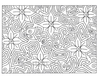 Zentagle Inspired Coloring Page, Intricte Zendoodle Flowers, Instant Download, Page 68