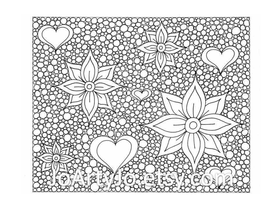 Zentangle Inspired Printable Coloring Page Hearts And Flowers Etsy