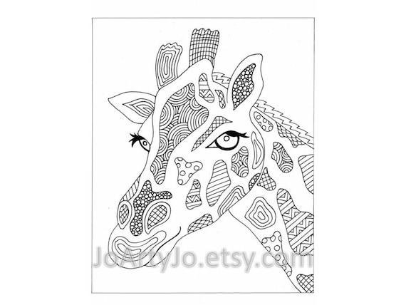 Giraffe Printable Zentangle Inspired Coloring Page Zendoodle Etsy