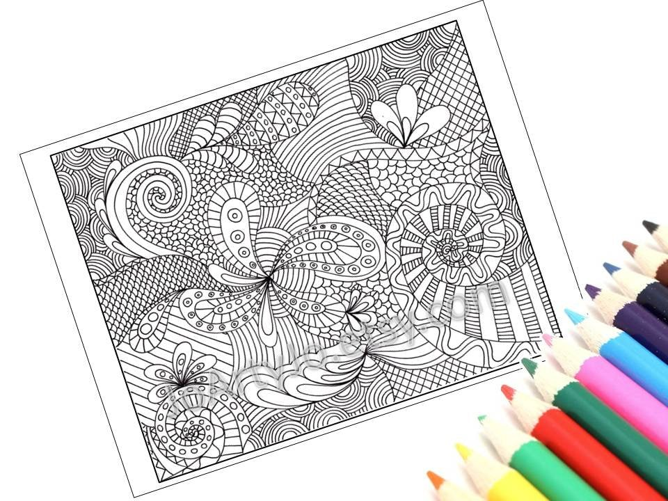 Coloring Page Printable Zentangle Inspired Instant Download