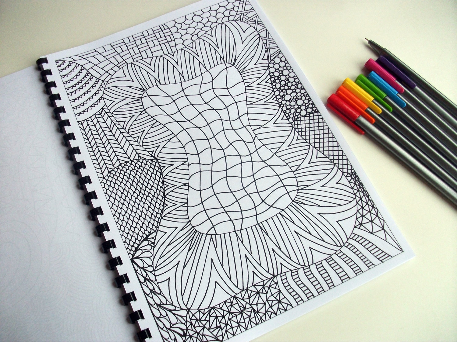 pdf coloring page zentangle inspired abstract coloring etsy. Black Bedroom Furniture Sets. Home Design Ideas