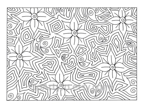 Flower Coloring Page Printable Zentangle Inspired Instant Etsy