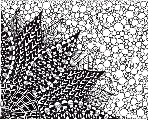 Abstract Ink Drawing Zentangle Inspired Art Flower Black And White 8 X 10 Printable Art