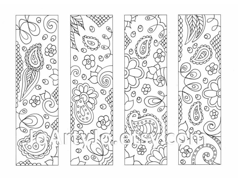 photo regarding Printable Coloring Bookmarks named Printable Coloring Bookmarks, Paisley Zentangle Impressed Sheet 16