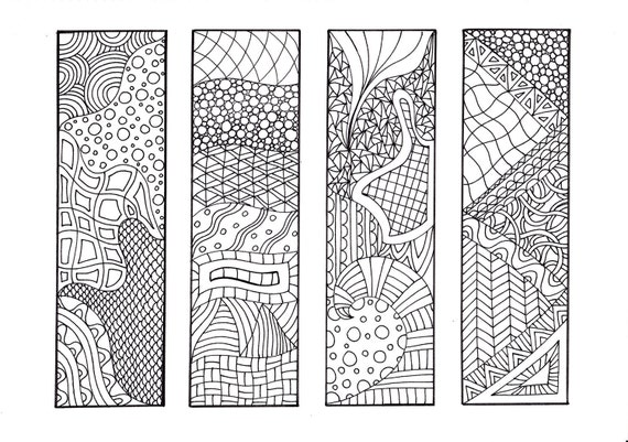 Zendoodle Printable Bookmarks DIY, Zentangle Inspired Coloring Sheet 1-3,  12 Bookmarks to Print and Color
