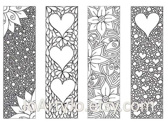 Valentine\'s Bookmarks to print and color Zentangle | Etsy