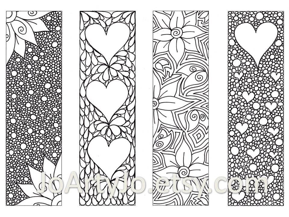 Valentine\'s Bookmarks to print and color, Zentangle Inspired Hearts and  Flowers, Printable Coloring, Digital Download, Sheet 8