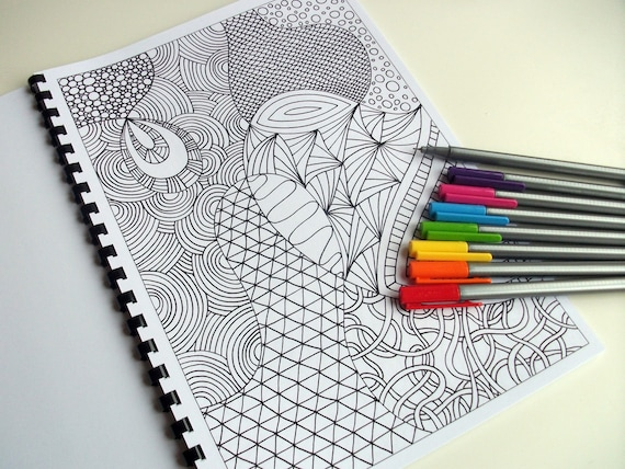 Coloring Book Zentangle Inspired Printable 12 Intricate Etsy