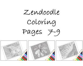 Printable Coloring Pages, Print and Color Zentangle Inspired, Pages 7-9: Instant Download.