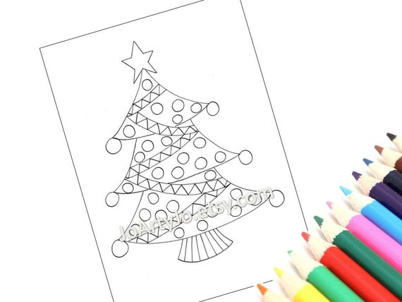 Printable Christmas Tree Coloring Page Holiday Zentangle Etsy