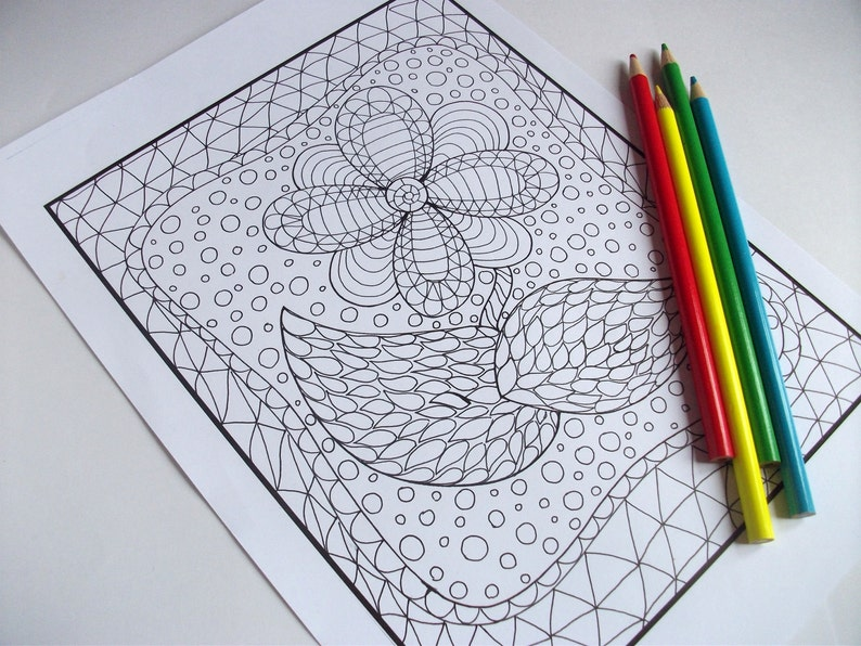 PDF Printable Zentangle Inspired Coloring Page Zendoodle ...