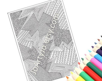 Coloring Page Printable, Digital Coloring Sheet, Zentangle Inspired Intricate Zendoodle Pattern, Page 34