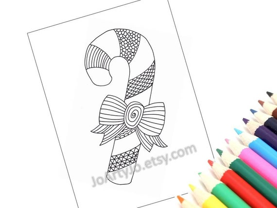 Christmas Printable Coloring Page Holiday Zentangle Inspired Etsy