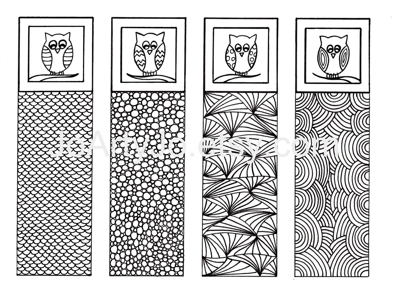 owl diy bookmarks zendoodle art gift idea printable | etsy
