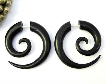 Tribal My darling Horn Hand Carved Naturally Organic Fake Gauge Earrings