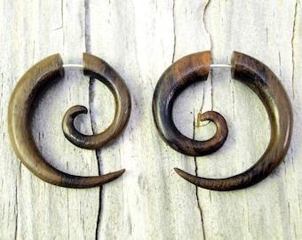 Fake Gauge Earrings Wooden Spiral Tribal Earrings - Gauges Plugs Bone Horn - FG009 W