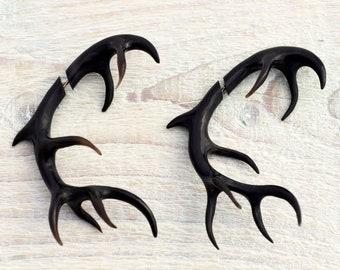 Antler Deer Fake Gauges Earrings Black Horn Tribal Earrings - Gauges Plugs Bone Horn - FG067 H