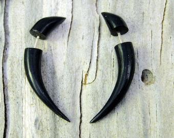 Fake Gauges Horn Earrings Talon Tribal Buffalo Black Horn Organic - FG032 H