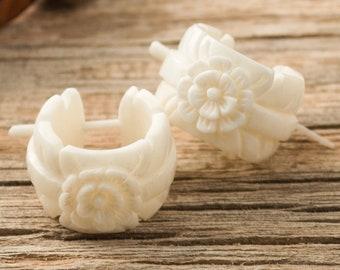 Hoop Earrings Hand Carved Flower Leaf Buffalo Bone Post Earrings Tribal Style - Gauges Plugs Bone - PE028 B