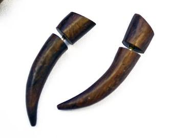 Fake Gauge Wood Earrings Talon Tribal Brown Wood Organic - FG032 W