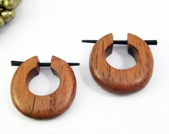 Hoop Post Earring Wood Hand Handmade Tribal Style - Gauges Plugs Bone Horn - PE011 W