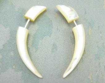 Fake Gauge Earrings Mother Pearl Talon Earring Tribal Organic - FG032 AS G1