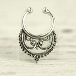 Fake Septum Ring Piercing Nose Ring Body Jewelry Bohemian Fashion Indian Style 14g - SE014F