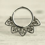 Septum Ring Piercing Nose Ring Body Jewelry Sterling Silver Bohemian Fashion Indian Style 16g 14g - SE013R