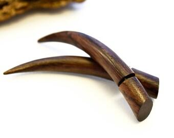 Fake Gauges Earrings Wooden Earrings Talon Tribal Brown Wood Organic - FG034 W G1