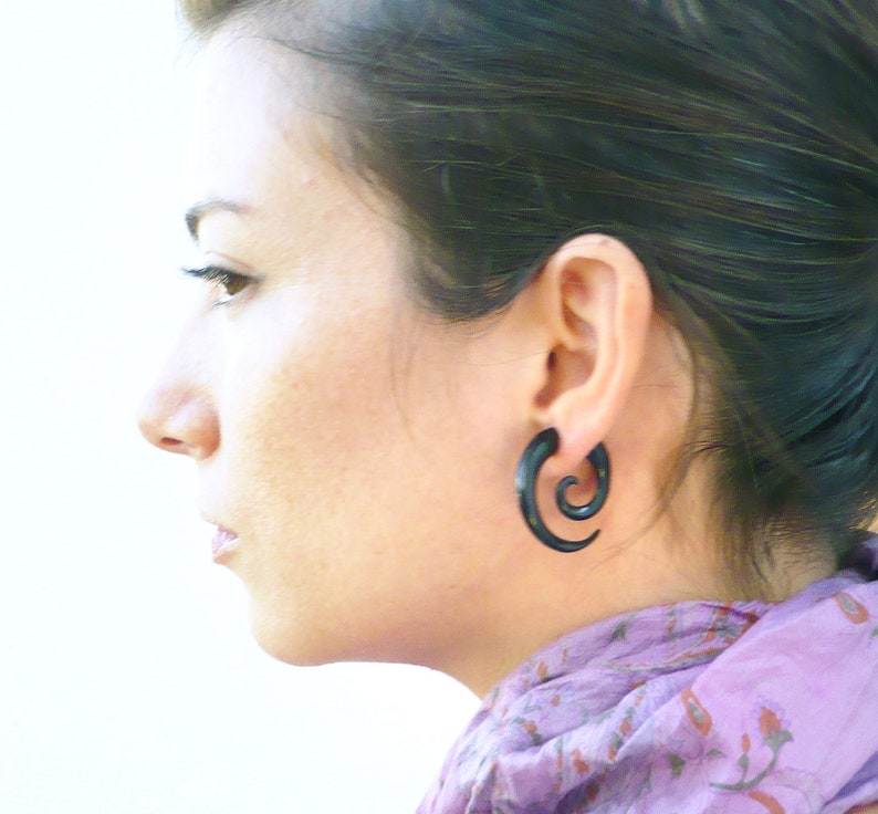 Fake Gauges Earrings Horn Earrings Black  Spiral Tribal image 0