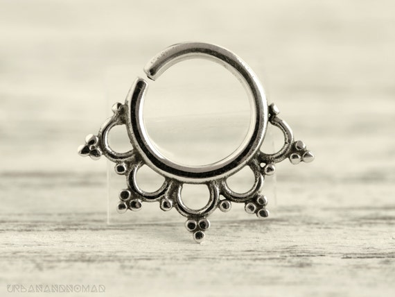 Septum Ring Piercing Nose Ring Body Jewelry Silver Bohemian Fashion Indian Style 14g Christmas Gift SE019R SS