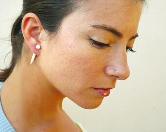 Bone Fake Gauge Earrings Bone Earrings Talon Tribal White Bone Organic - FG032 B