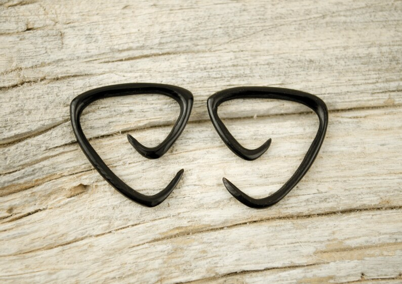 Black Spiral Gauge Earrings 16g 14g 12g Horn Tribal Expanders GA006 H