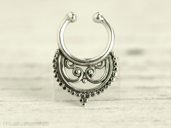 Fake Septum Ring Piercing Nose Ring Body Jewelry Sterling Silver Bohemian Fashion Indian Style 14g Christmas Gift SE020F