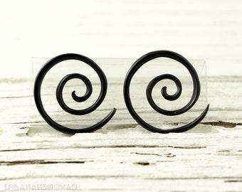 Black Horn Earrings Double Spiral Gauges  16g 14g 12g 10g 8g 6g 4g 2g 0g 00g 1/2  Expanders - GA003 H
