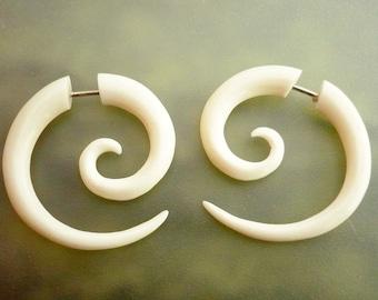 Bone Fake Gauge Bone Earrings White Spiral Tribal Earrings - Gauges Plugs Bone Horn - FG009 B
