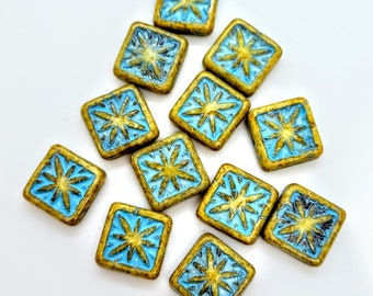 14mm Squares - Center Drilled - 10 Count