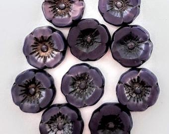 12mm Hawaiian Hibiscus Flower Beads Purple  w/Antique Copper Wash
