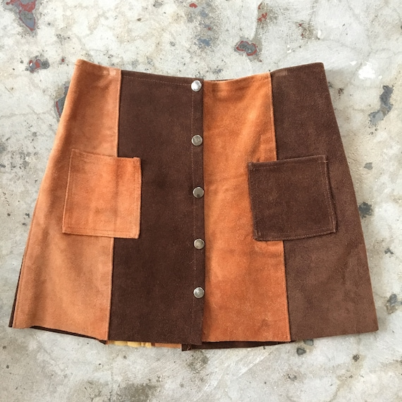 60s/70s Suede Patchwork Snap Skirt