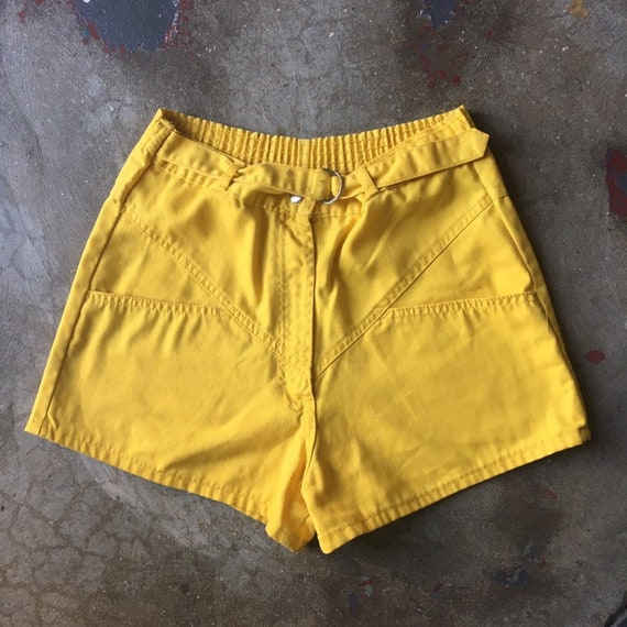 Yellow Belted Shorts 70s High Waisted Summer Stapl