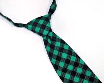 5ae4c85c8a93 Green & Black plaid tie, buffalo plaid tie, boy's green tie, boy's tie,  baby tie, toddler tie, christmas tie, green and black tie, kids tie